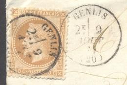 COTE D'OR 21 GENLIS LSC Tad 16 Du 09/08/1871 Oblitérant  N° 28 Boite Rurale M Non Identifiée (doit être Tard Le Haut) TB - Marcophilie (Lettres)