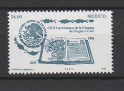 Mexico Mi 1922 125th Anniversary Of The Establishment Of Civil Registration - 1984 ** - Mexico