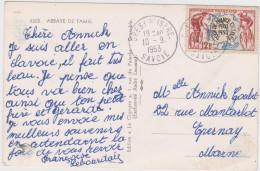 Yvert 955 Tour De France  Seul Sur Carte De Gresy Sur Isere Savoie 1953 - Poststempel (Briefe)