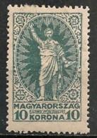 Timbres - Hongrie - 1923 - 10 K - Neuf Avec Trace De Charnière -