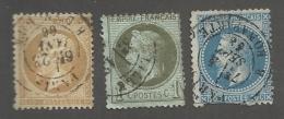 FRANCE - LOT DE 3 TIMBRES OBLITERES POUR ETUDE DES CAD - COTE YT : 39€ - 1862/70