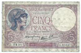 Cinq Francs -violet RY.2=11=1939 RY - 1871-1952 Antiguos Francos Circulantes En El XX Siglo