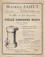 Poëles Canadiens Neufs/Solde / Maurice SAHUT/Boulogne Sur Seine /Vers 1930  GEF63 - Francia