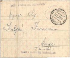 """PIEGO """"TASSA A CARICO DEL DESTINATARIO"""" IST.TEC.AGRARIO CAGLIARI 31-02-1947 X SENORBÌ ANNULLO INTERESSANTE VEDI DETTAGLI - 1946-60: Marcofilie"""