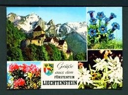 LIECHTENSTEIN  -  Vaduz Castle And Flora  Multi View  Unused Postcard - Liechtenstein