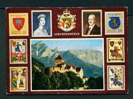 LIECHTENSTEIN  -  Vaduz Castle And Postage Stamps  Unused Postcard - Liechtenstein