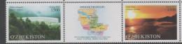 UZBEKISTAN ,2015, MNH, JIZZAKH REGION, TREES, MOUNTAINS, LANDSCAPES,2v+TAB - Geography