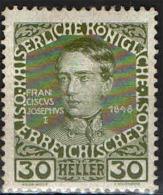 AUSTRIA - 1908 - IMPERATORE FRANCESCO GIUSEPPE NEL 1848 - NUOVO MH - 1850-1918 Empire