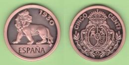 SPAIN  King Alfonso XIII 5 Céntimos  1.930  Cy 16654c  Aledón 130.PM2  Réplica  Cobre  SC/UNC  T-DL-11.736 - [ 5] 1949-… : Kingdom