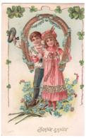 CPA GAUFFREE ENFANTS COUPLE FER A CHEVAL TREFLES PORTE BONHEUR BONNE ANNEE 1907 - Dessins D'enfants