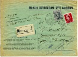 X001 Atto Giudiziario Da Padova A Venezia Del 22/10/1929 - Tornato Al Mittente - 1900-44 Vittorio Emanuele III