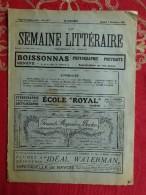 REVUE SEMAINE LITTERAIRE SAMEDI 3 DECEMBRE 1921 GENEVE SUISSE PUBLICITE PHILOSOPHIE LANGAGE PARLER ALSACIEN - Hobbies & Collections