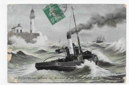 (RECTO / VERSO) REMORQUEUR ALLANT AU DEVANT D' UN TROIS MATS EN PERIL EN 1911 - BEAU CACHET - CPA - Remorqueurs