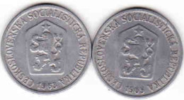 Tschechoslowakei - Tchécoslovaquie 2 X 10 Halier, Haler 1963 + 1965 - Tschechoslowakei