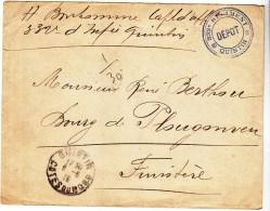 WWI - 1915 - QUINTIN PLOUGONVEN - 332 EME REGIMENT DEPOT - BONHOMME BERTHOU - CACHET TAMPON MILITAIRE - Marcophilie (Lettres)