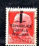Y1192 - RSI 1944 , 75 Cent N. 494 Usato - 4. 1944-45 Repubblica Sociale