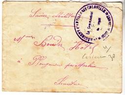 WWI - 1914 - LORIENT PLOUGONVEN - DEPOT 1 ER REGIMENT D ARTILLERIE COLONIALE - BOUDEZ HOTEL - CACHET TAMPON MILITAIRE - Marcophilie (Lettres)