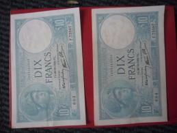 LOT De 2 Billets De 10 Francs MINERVE N° à Suivre Du 26 10 1939 - N°603 Et 604 Alph F. 75587 @ N° Fayette : 7.13 - 10 F 1916-1942 ''Minerve''