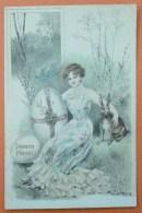 Litho Couleur Illustrateur KVIB 530 BRÜNING BRUENING Femme Fille Assise Herbe Gros Oeuf Bras Sur Lapin Humanisé - Bruening, Max