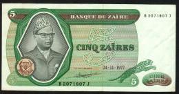ZAIRE : 5  Zaires - 1977 -  XF - Zaire