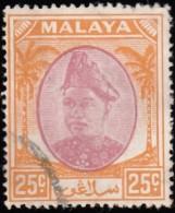 MALAYA Selangor - Scott #89 Sultan Hisamuddin Alam Shah (*) / Used Stamp - Selangor