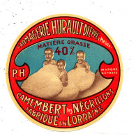 M 584 /  ETIQUETTE DE  FROMAGE   CAMEMBERT   LES NEGRILLONS  FROMAGERIE HURAULT DIEPPE   (MEUSE) - Cheese
