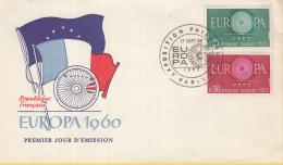 Frankrijk - FDC 17-9-1960 - Europa/CEPT - Exposition Philatelique - Parijs/Paris - M 1318-1319 - 1960