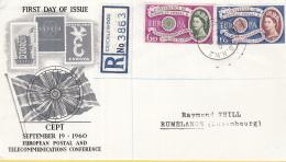 Groot-Brittannie - FDC 19-9-1960 - Europa/CEPT - London/Londen -  Aangetekende Brief - M 341-342 - 1960