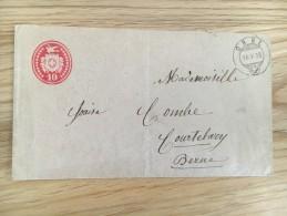 Entier Postal Orbe 16.09.1878 D'Orbe Pour Berne - Entiers Postaux