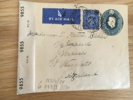 Grande Bretagne Pour La Suisse Entier Postal Avec Censure  Liverpool 21.07.1943 - Militaria