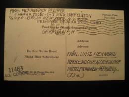 Camp. CLINTON 1944 To Merkendorf Censor Prisonniers De Guerre Prisoner Of War POW Kriegsgefangenenpost Card USA Germany - Etats-Unis