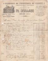 69 BEAUJEU FACTURE 1923 Fabrique De Fourneaux De Cuisine Ph. DEVILLAINE  -  Y46 - 1900 – 1949