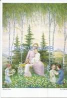 37202 ART ARTE SIGNED ALFRED OCHS CHILD JESUS & VIRGIN MARY AND CHILDREN  POSTAL POSTCARD - Fine Arts