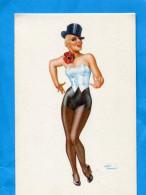 PIN UP-Court Vétue-avec Haut De Forme-illustration André BREMOND  -années 50- - Pin-Ups