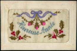 HEUREUSE ANNÉE - Carte Brodée - Embroidered