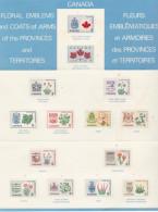 TRIPTYQUE  Avec 14 Timbres Représentants Les Fleurs Et Armoiries Des Provinces Du Canada (Voir 2 Scans) - Canada