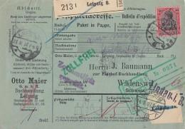 DR Paketkarte EF Minr.93II Leipzig 13.8.17 Perfins O.M. Otto Maier Gel. In Schweiz - Deutschland
