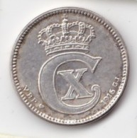 Denmark, 25 Øre, 1916 VBP, 2 Scans.  Silver   KM 815.1 - Dinamarca