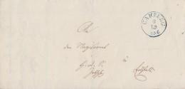 T&T Brief Gelaufen Von Blauer K1 Camburg 3.12.1856 Nach Eisfeld Rückseitig Verschiedene Stempel - Thurn Und Taxis