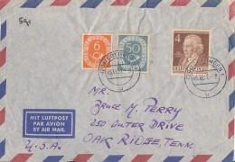 Bund Luftpostbrief Mif Minr.126,134 Berlin Minr.91 Göttingen 5.11.52 Gel. In USA - BRD