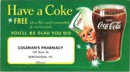 Coca Cola Premium Card Free Coke Colemans Pharmacy Burlington VT Advertisement - Advertising