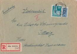 Bauten Orts-R-Brief EF Minr.92wg Kettwig 24.1.50 - Bizone