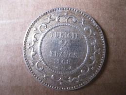 TUNISIE .2 FRANCS 1908 (AH1326)  . ARGENT .KM# 239 - Tunisie