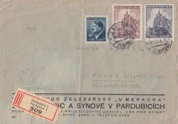 B&M R-Brief Mif Minr.91,140,141 Pardubitz Gel. Nach Prag - Besetzungen 1938-45