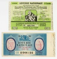 Billets De Loterie - Fédérations Mutualistes - Et 1ère Tranche   - 2 Billets -  1939 / 1940  - - Lottery Tickets