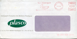 EMA Industrie Chimie,PLASCO Compagne Française Des Matières Plastiques,lettre Obliterée 68 Huningue,Haut-Rhin 20.12.1984 - Fabriken Und Industrien