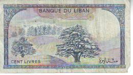 Libano  100 Lyvres (A) , Banconota Circolata Angolo Con Strappo - Libano