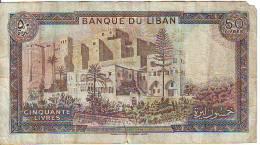 Libano  50 Lyvres (A) , Banconota  Circolata Angolo Con Strappo - Libano