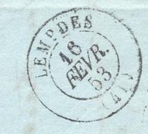 HAUTE LOIRE 43 LEMPDES LAC Tad 15 Du 16/02/1853 Taxe DT 25 TTB - 1849-1876: Période Classique