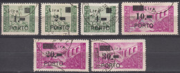 """Istria Litorale Yugoslavia Occupation, Porto 1946 Sassone#8-13 Used, First Stamp Big Point After """"1"""" (first Stamp)"""